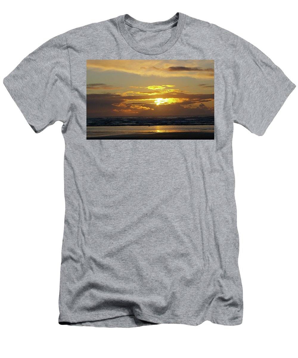 Ocean Men's T-Shirt (Athletic Fit) featuring the photograph Sunset At Westport by Jeff Swan
