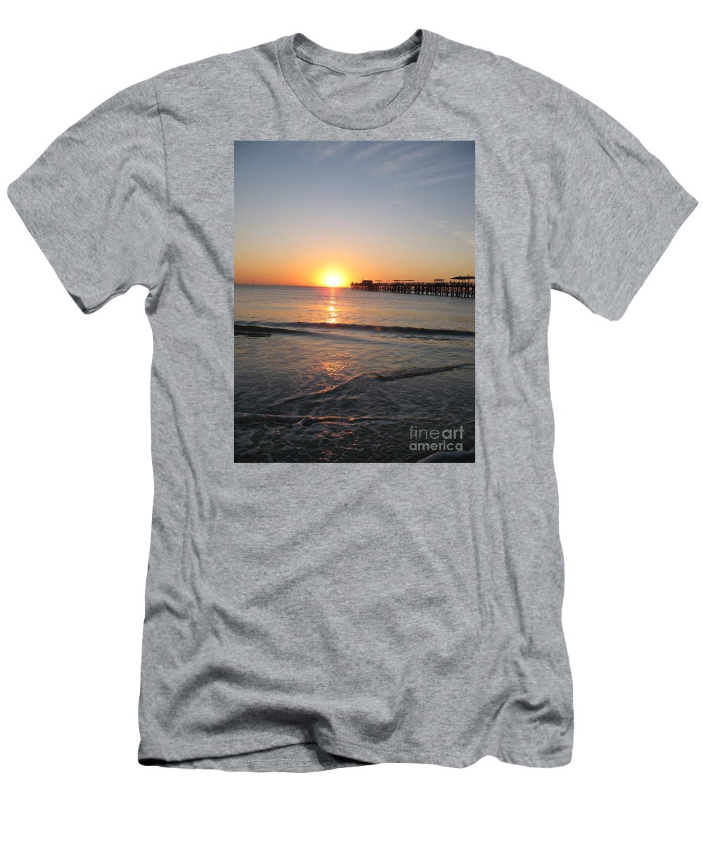Sunset Men's T-Shirt (Athletic Fit) featuring the photograph Fishingpier Sunset by Christiane Schulze Art And Photography