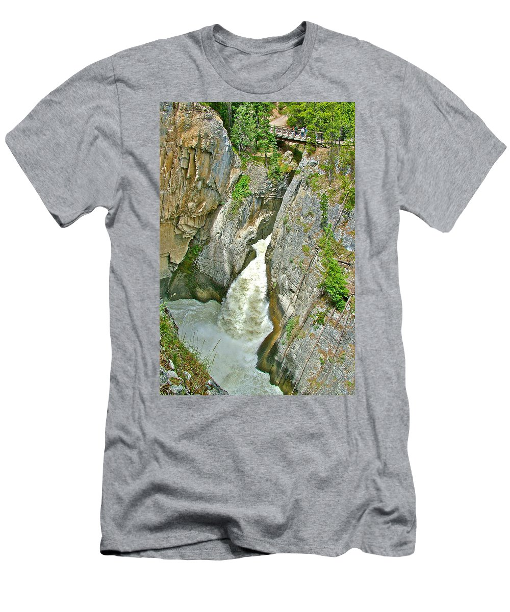 Sunwapta Falls Along Icefields Parkway In Alberta Men's T-Shirt (Athletic Fit) featuring the photograph Sunwapta Falls Along Icefields Parkway In Alberta by Ruth Hager