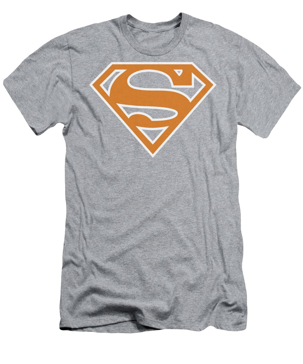 Superman T-Shirt featuring the digital art Superman - Burnt Orangeandwhite Shield by Brand A