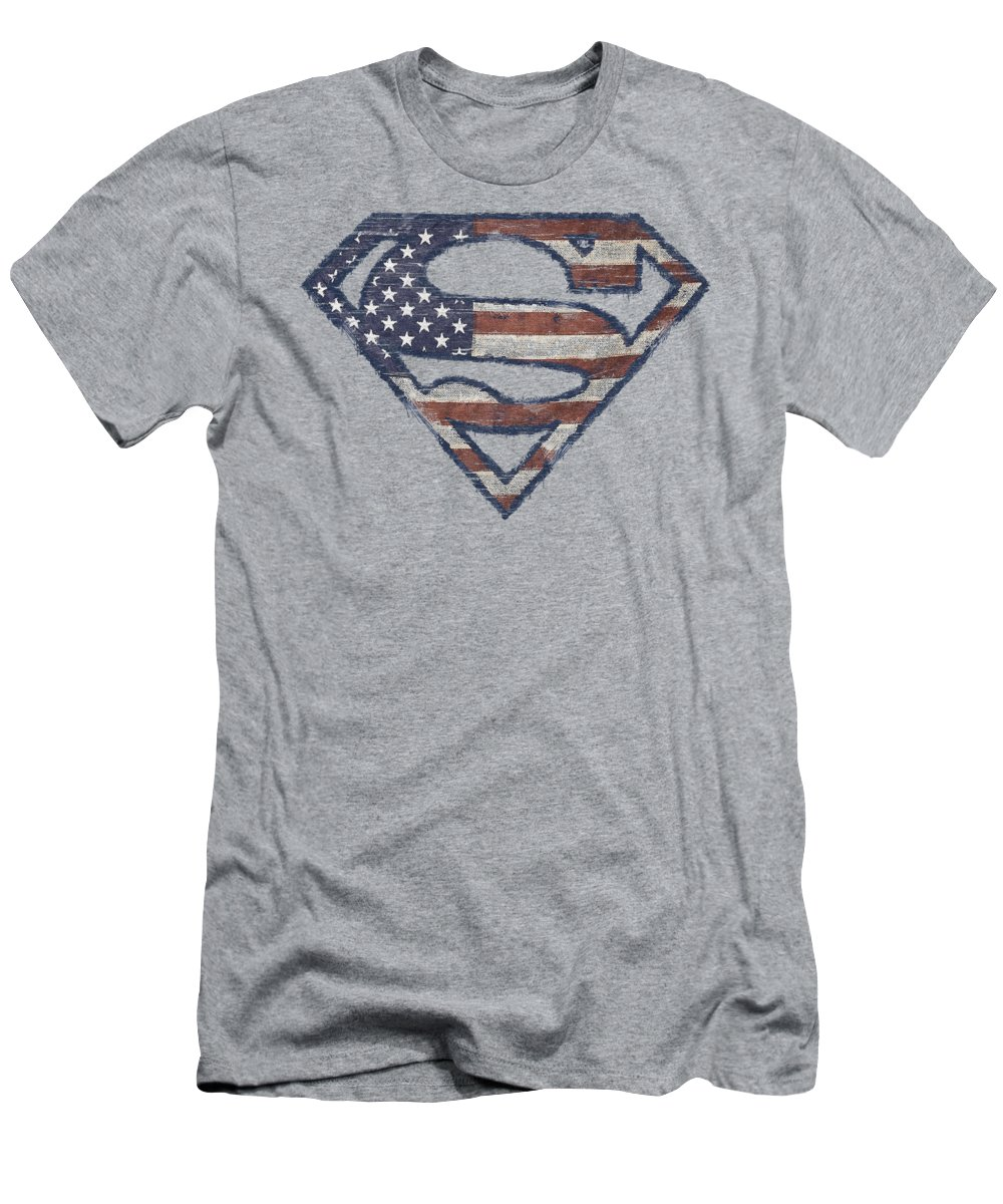 Superman T-Shirt featuring the digital art Superman - Wartorn Flag by Brand A