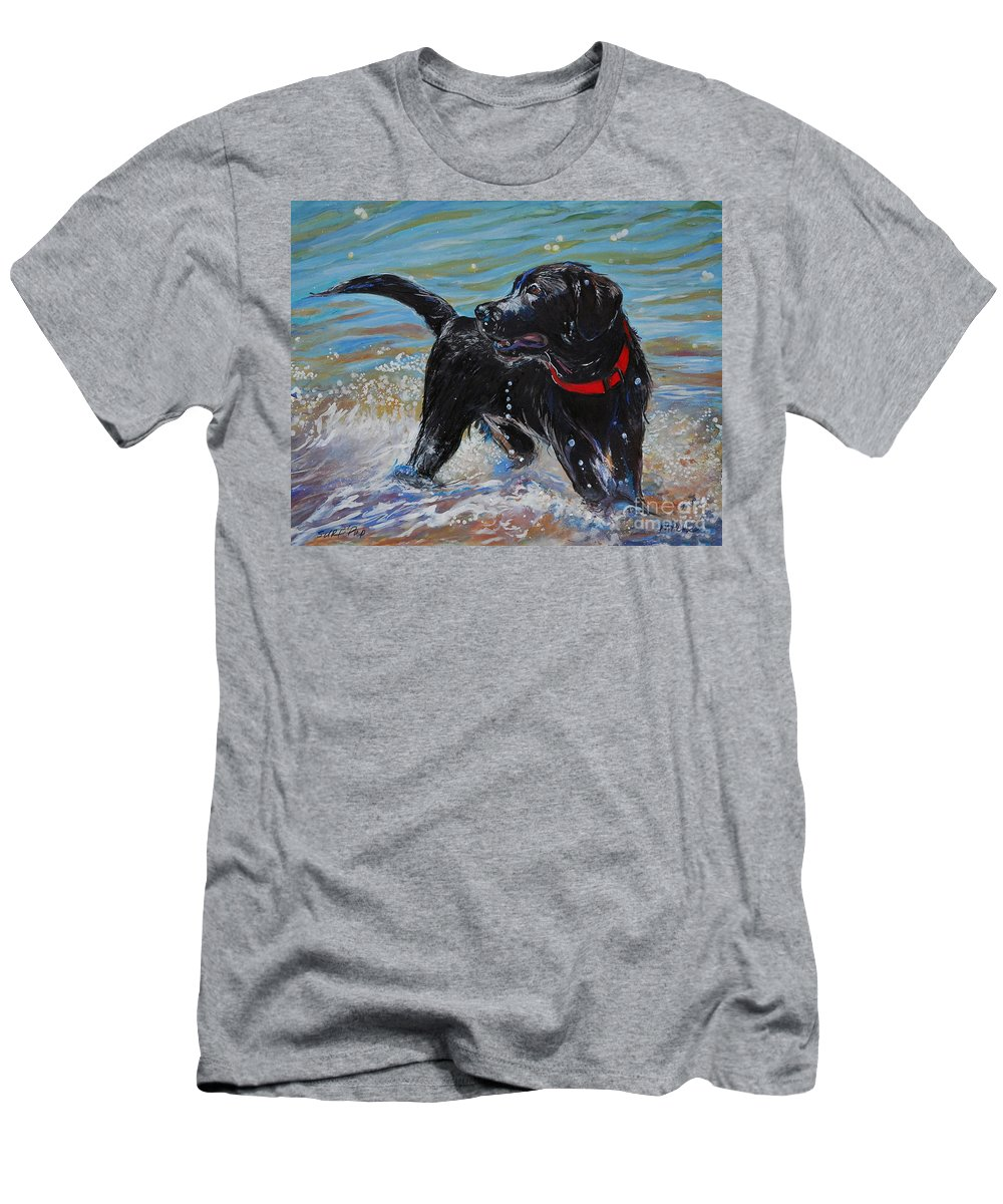 Black Labrador Retriever Puppy Men's T-Shirt (Athletic Fit) featuring the painting Surf Pup by Molly Poole