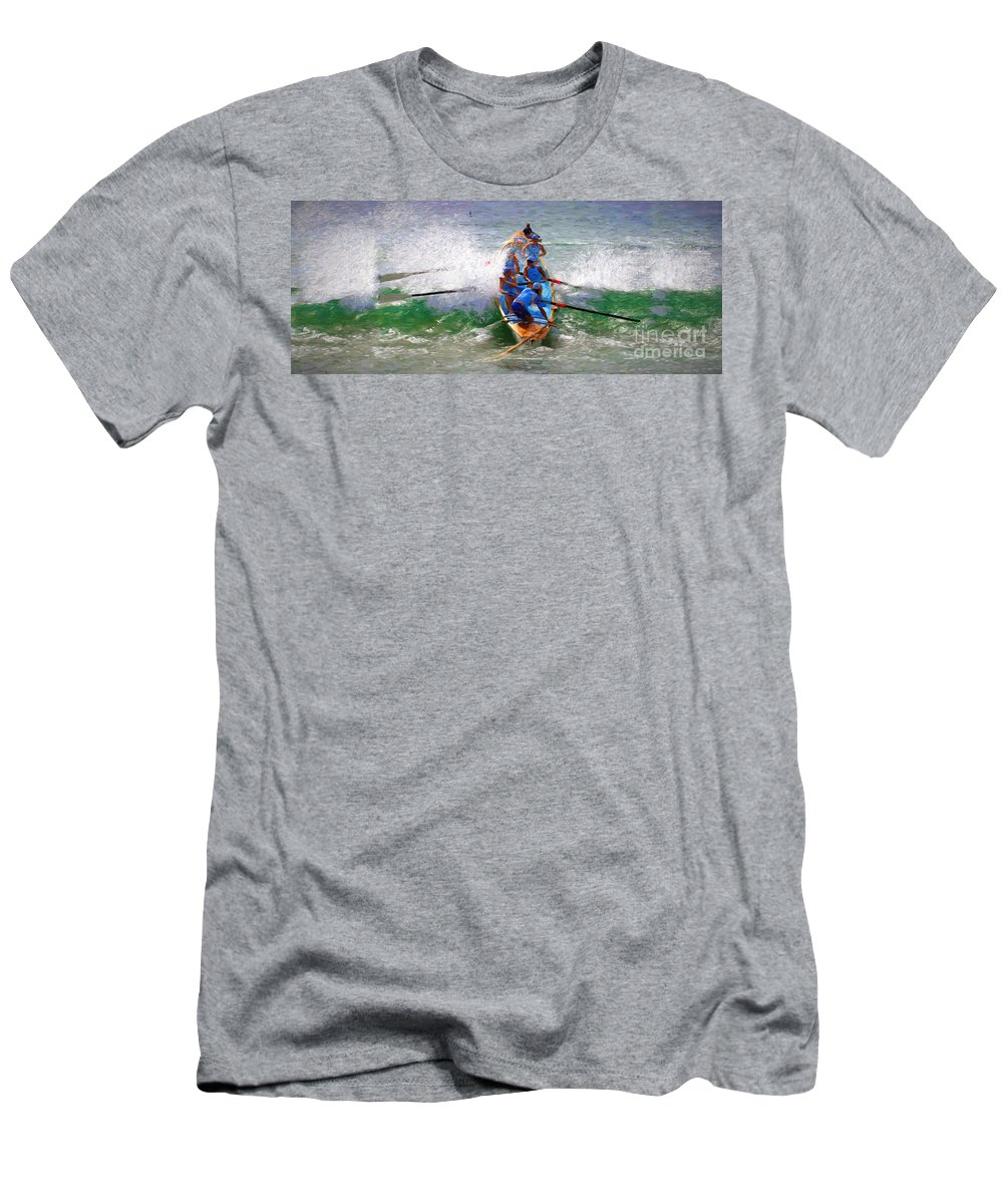 Surfer T-Shirt featuring the photograph Surfing lifesaving boat by Sheila Smart Fine Art Photography