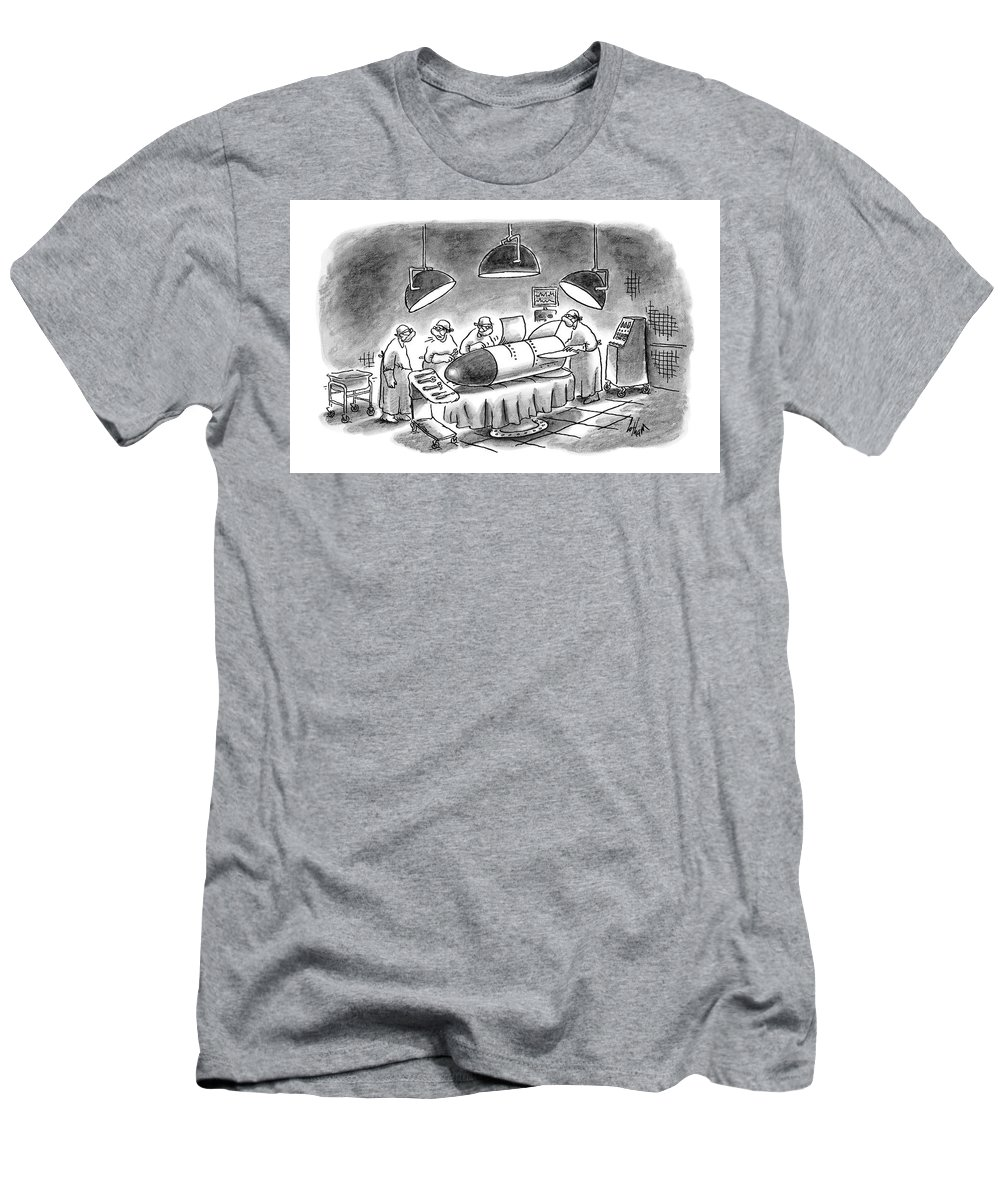 Medical Men's T-Shirt (Athletic Fit) featuring the drawing Surgeons Working On A Bomb In Operating Room by Frank Cotham