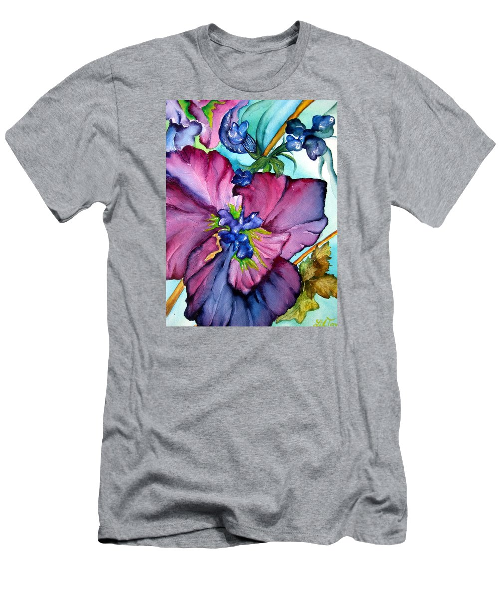 Wildflowers Men's T-Shirt (Athletic Fit) featuring the painting Sweet And Wild In Turquoise And Pink by Lil Taylor