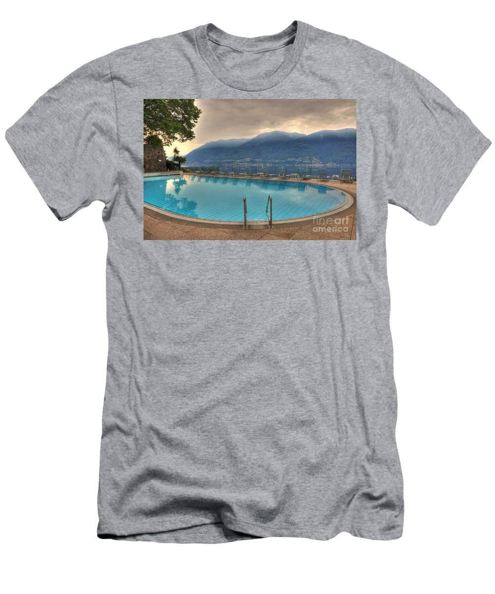 Swimming Pool Men's T-Shirt (Athletic Fit) featuring the photograph Swimming Pool by Mats Silvan