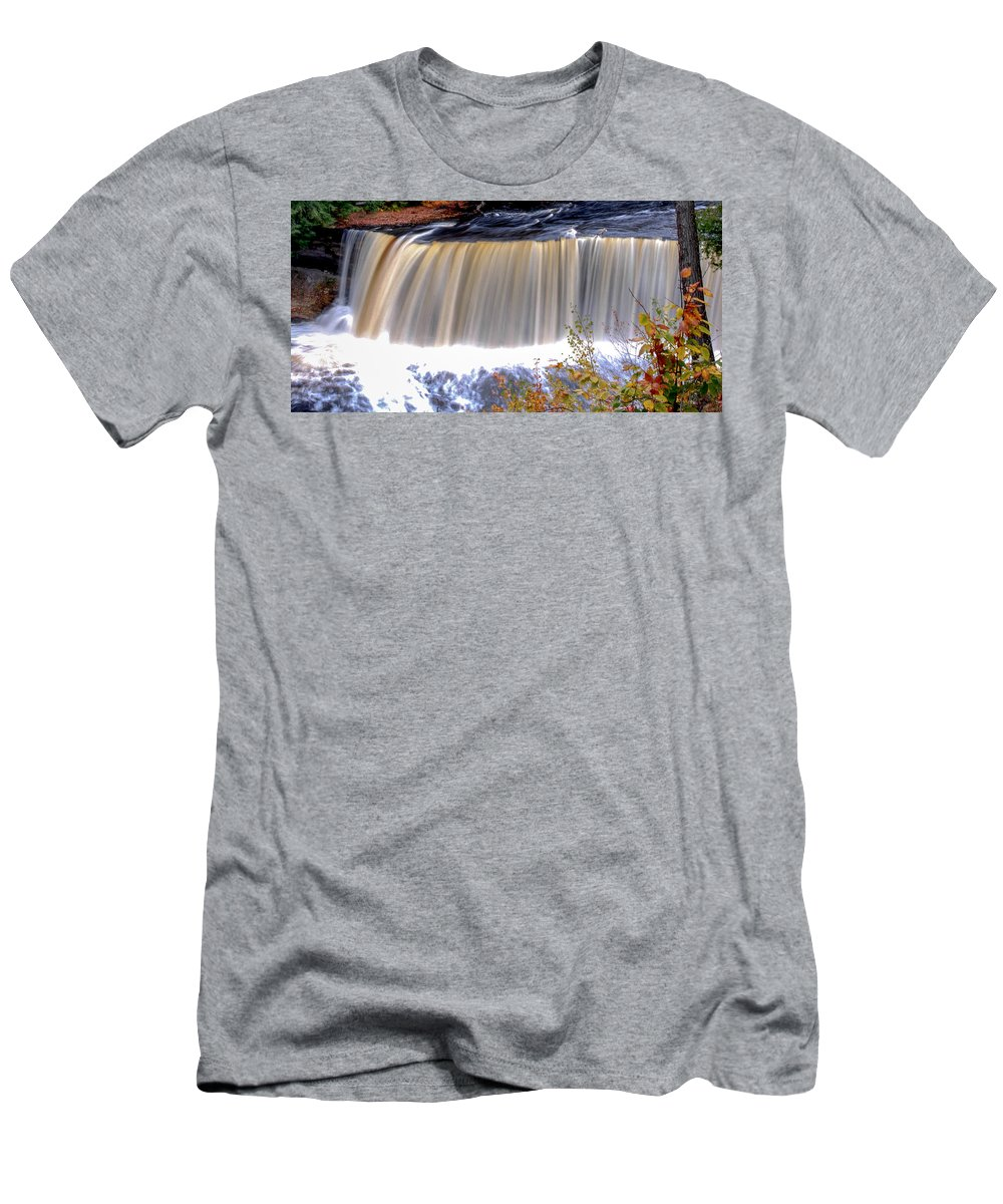 Tahquamenon Men's T-Shirt (Athletic Fit) featuring the photograph Tahquamenon Falls by Optical Playground By MP Ray