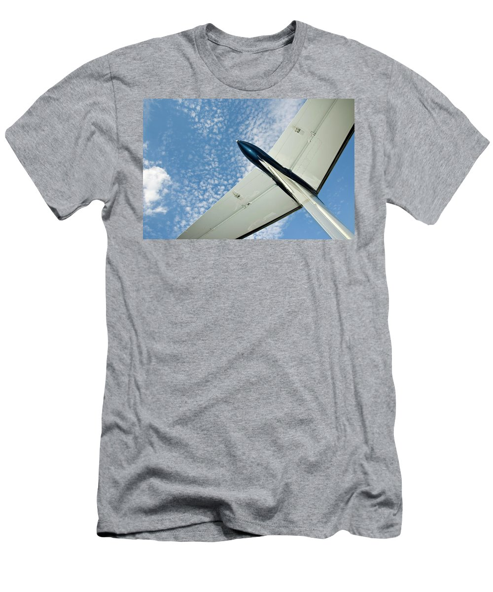 Airplane Men's T-Shirt (Athletic Fit) featuring the photograph Tail Of The Airplane by Carolyn Marshall