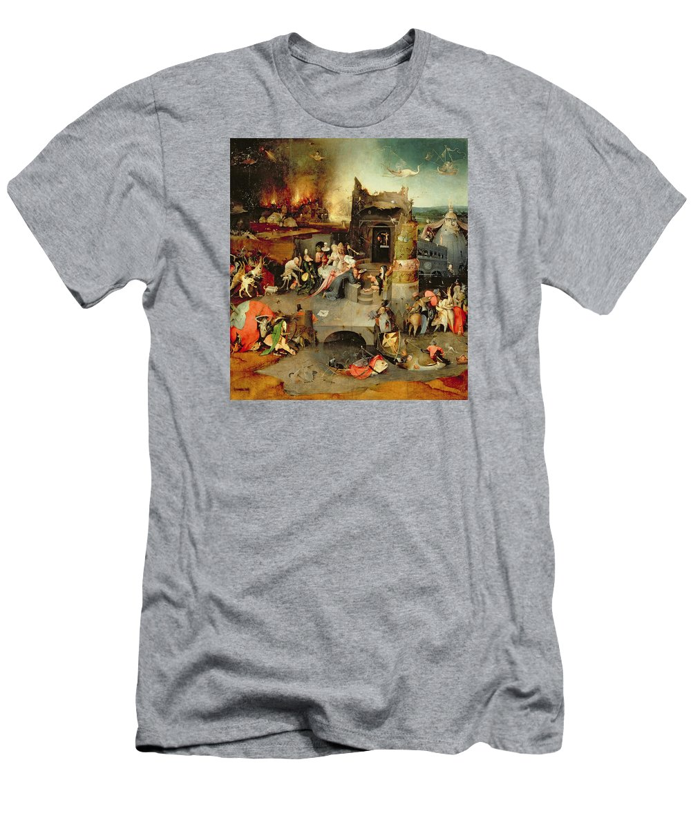 Hieronymus Bosch T-Shirt featuring the painting Temptation Of Saint Anthony Centre Panel Detail by Hieronymus Bosch