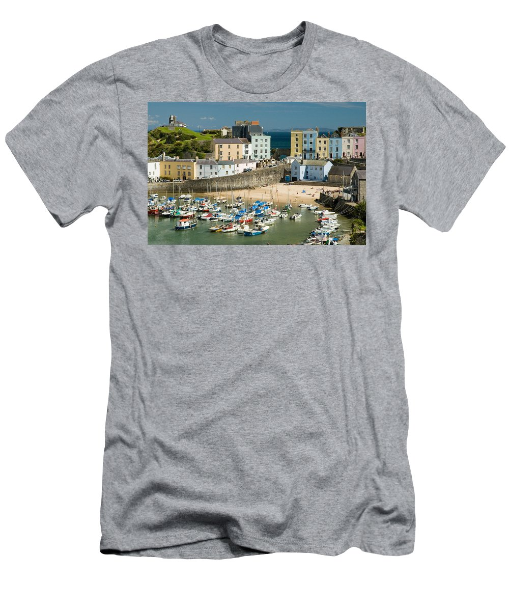 Tenby Men's T-Shirt (Athletic Fit) featuring the photograph Tenby Harbour by Jeremy Voisey