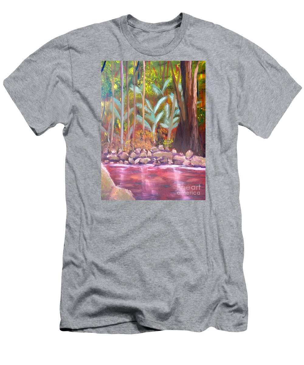 Impressionism Men's T-Shirt (Athletic Fit) featuring the painting Terania Creek by Pamela Meredith