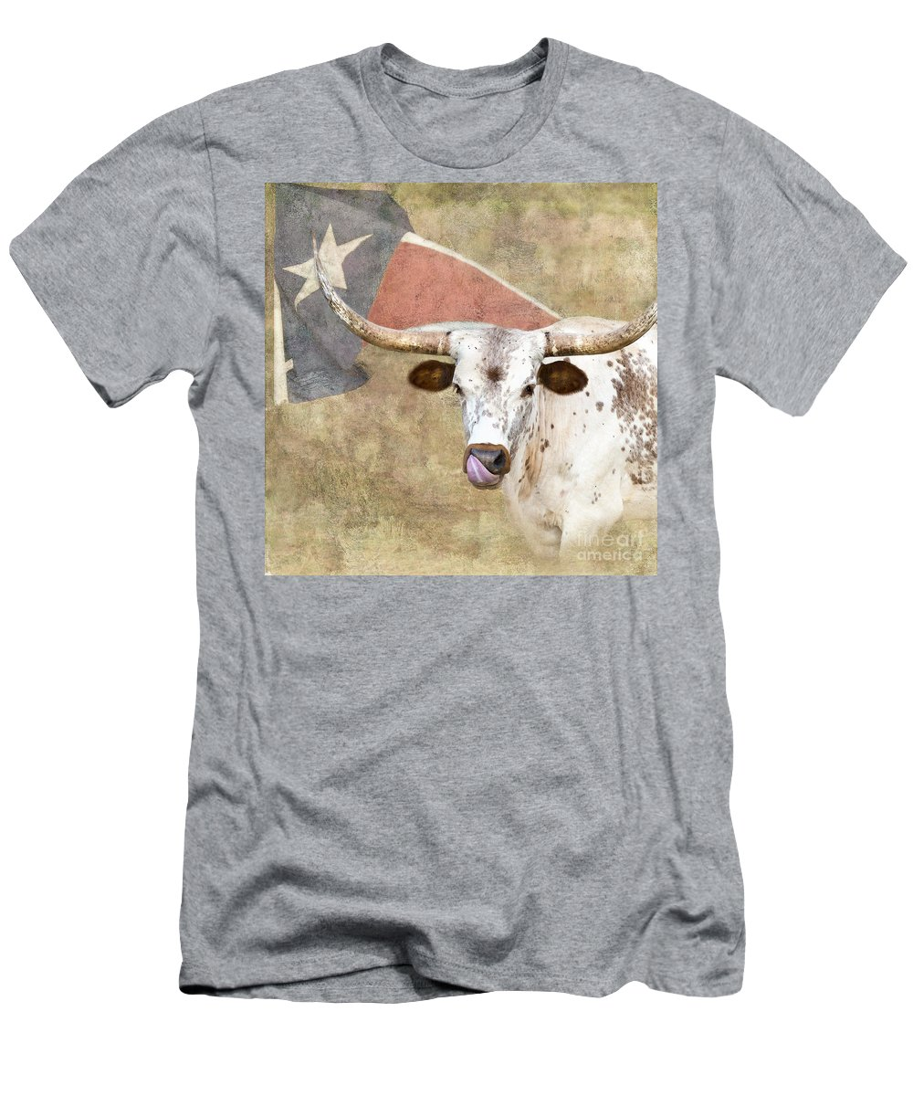 Texas Longhorn Men's T-Shirt (Athletic Fit) featuring the photograph Texas Longhorn # 2 by Betty LaRue