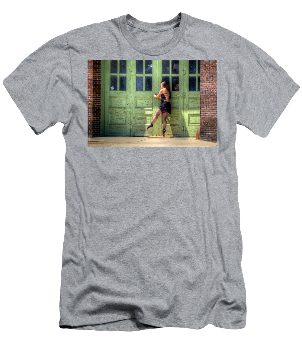 Street Scene Men's T-Shirt (Athletic Fit) featuring the photograph The Ballerina And The Green Doors by M Dale