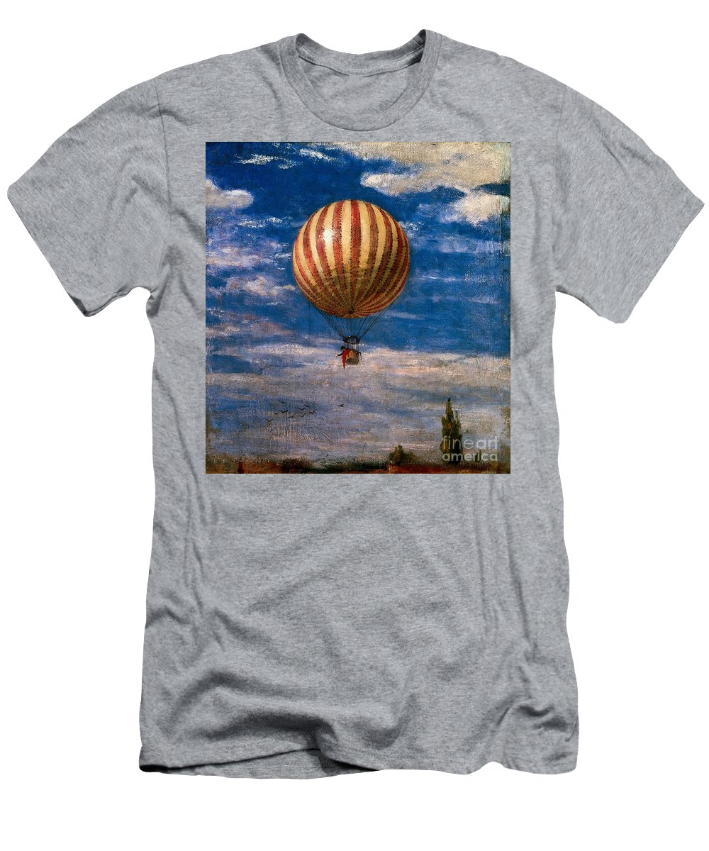 Transport Men's T-Shirt (Athletic Fit) featuring the painting The Balloon by Pal Szinyei Merse
