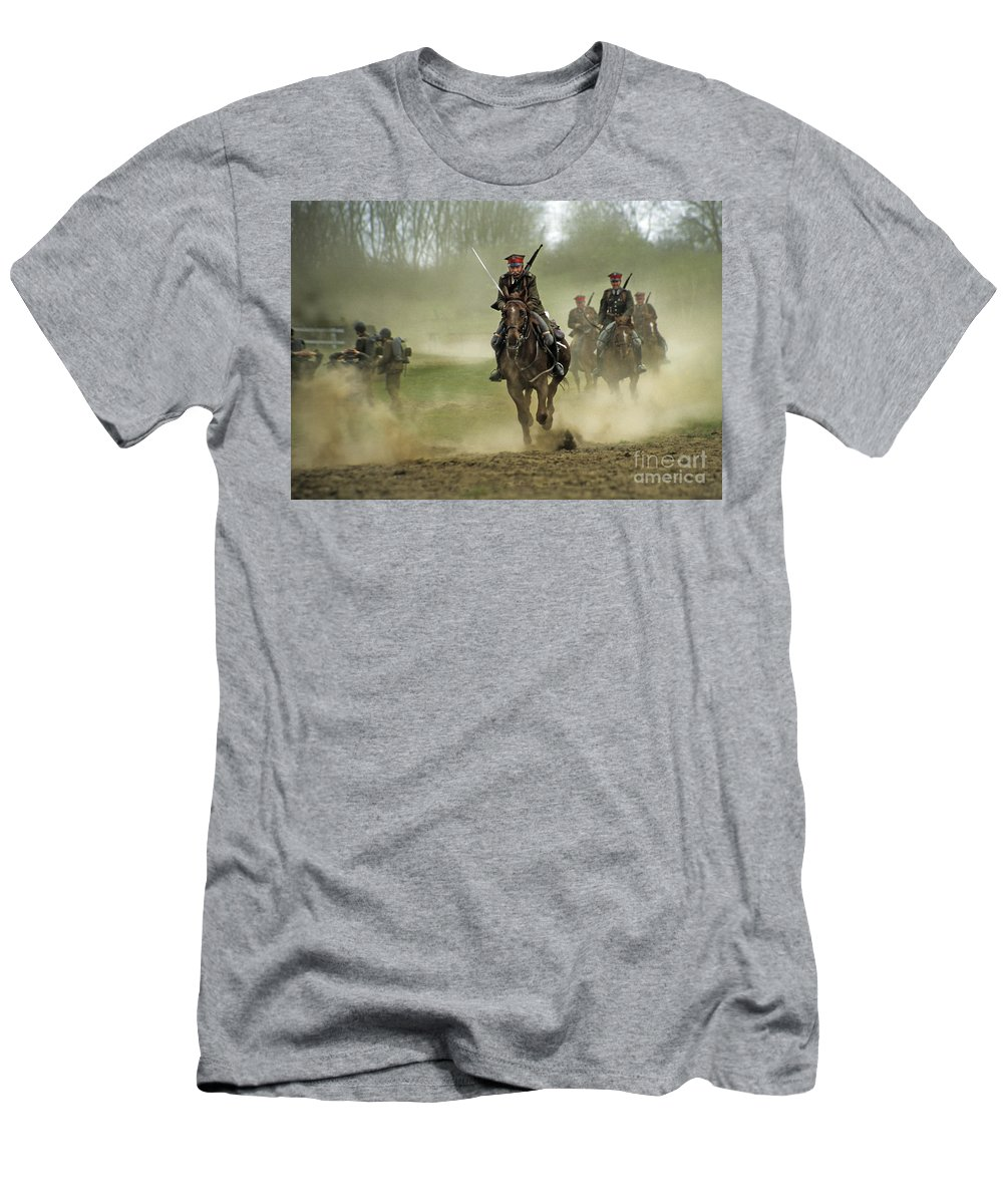 Cavalry Men's T-Shirt (Athletic Fit) featuring the photograph The Battle by Angel Ciesniarska