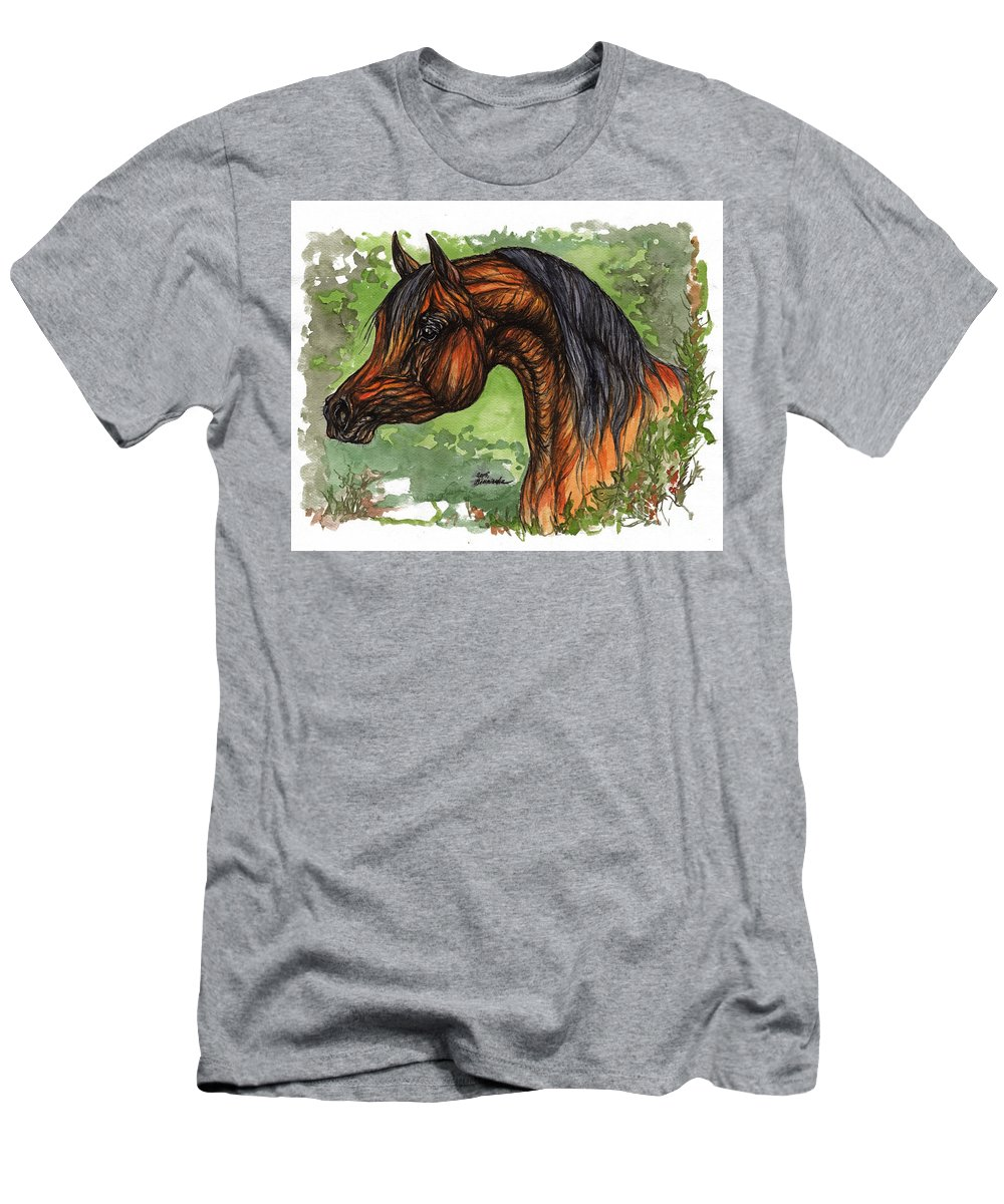 Psychodelic Men's T-Shirt (Athletic Fit) featuring the painting The Bay Arabian Horse 1 by Angel Ciesniarska