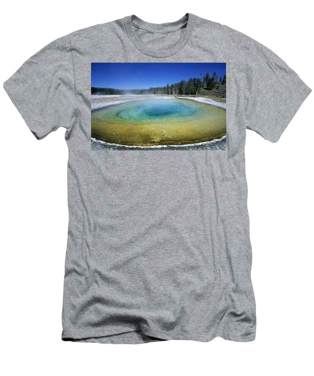Feb0514 Men's T-Shirt (Athletic Fit) featuring the photograph The Beauty Pool Yellowstone Np Wyoming by Wil Meinderts