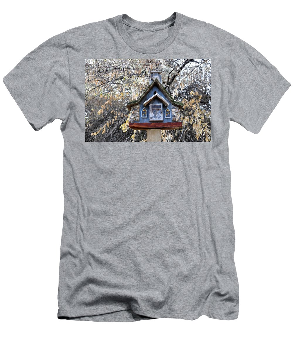 Melba; Idaho; Birdhouse; Shelter; Outdoor; Fall; Autumn; Leaves; Plant; Vegetation; Land; Landscape; Tree; Branch; House; Men's T-Shirt (Athletic Fit) featuring the photograph The Birdhouse Kingdom - The Cordilleran Flycatcher by Image Takers Photography LLC - Carol Haddon