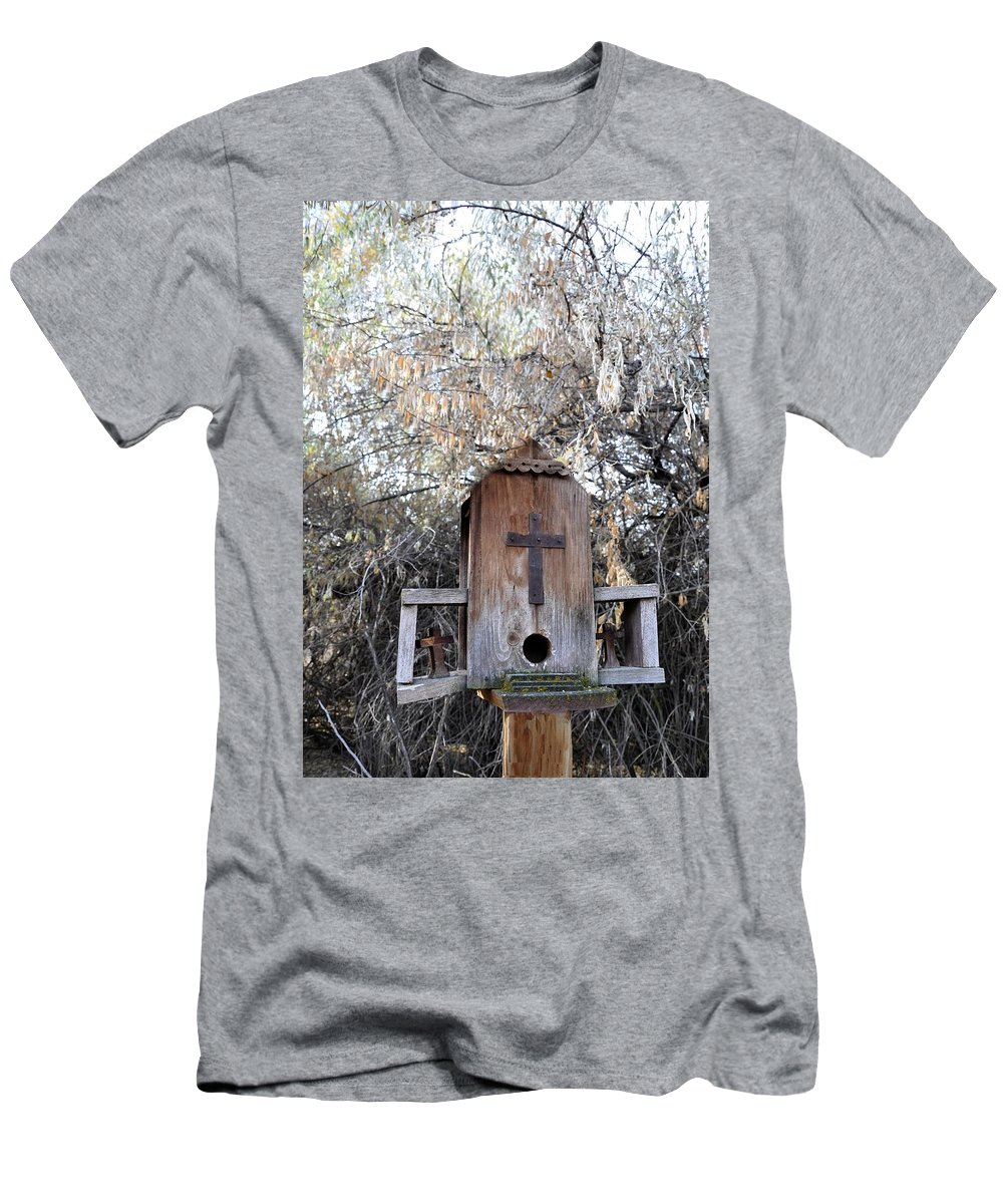Melba; Idaho; Birdhouse; Shelter; Outdoor; Fall; Autumn; Leaves; Plant; Vegetation; Land; Landscape; Tree; Branch; House; Cross; Men's T-Shirt (Athletic Fit) featuring the photograph The Birdhouse Kingdom - The Olive-sided Flycatcher by Image Takers Photography LLC - Carol Haddon