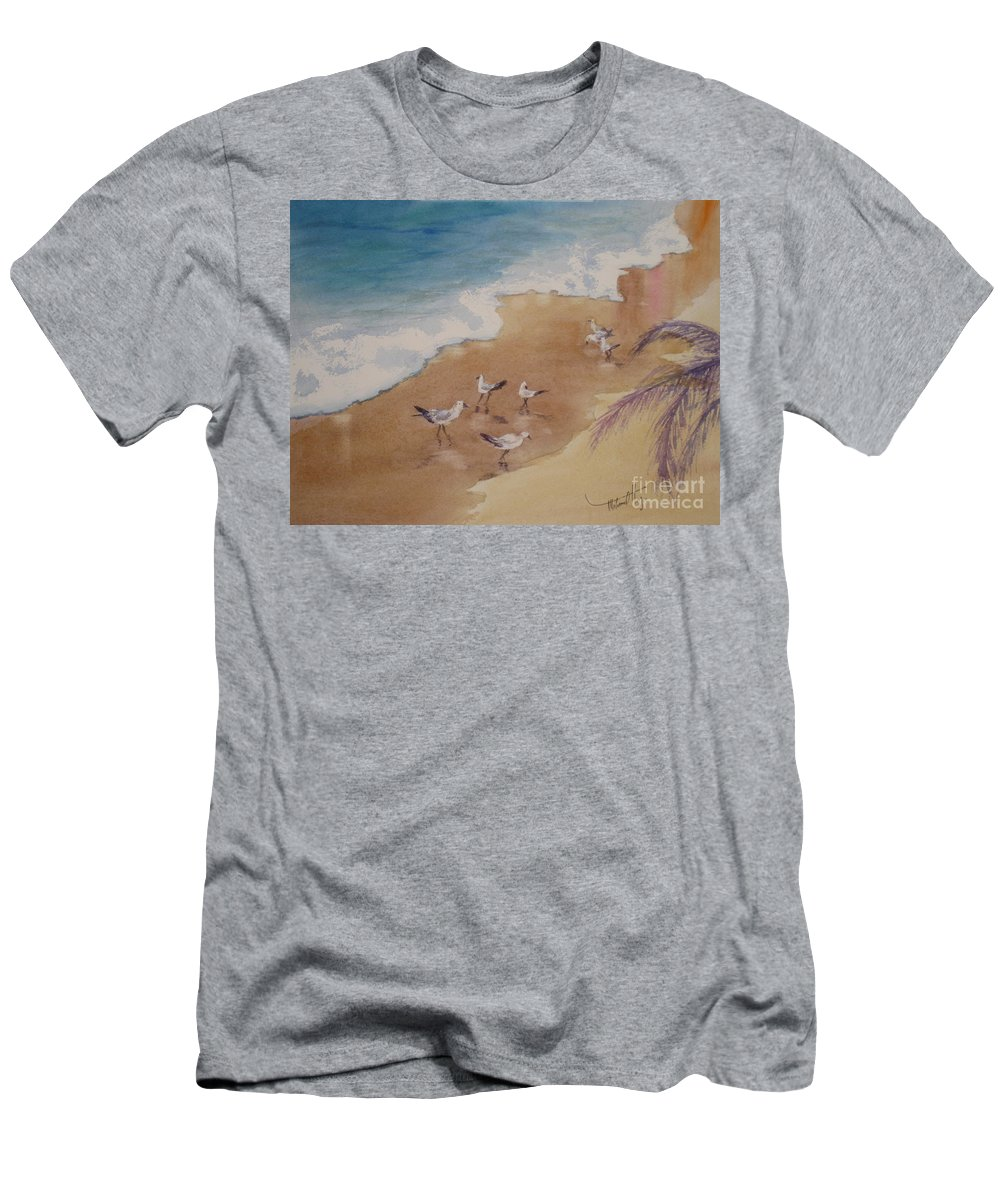 Action Men's T-Shirt (Athletic Fit) featuring the painting The Birds Of Playa Marinero by Mohamed Hirji