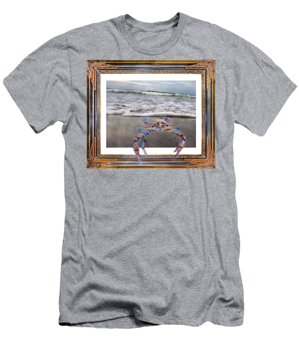 Blue Men's T-Shirt (Athletic Fit) featuring the digital art The Blue Crab by Betsy Knapp