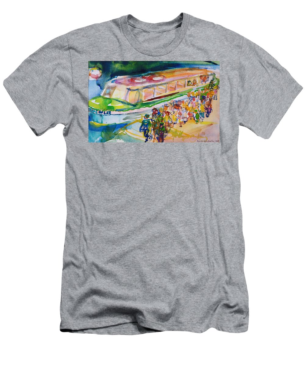 Canal Boat Men's T-Shirt (Athletic Fit) featuring the photograph The Boat Trip, 1989 Wc On Paper by Brenda Brin Booker