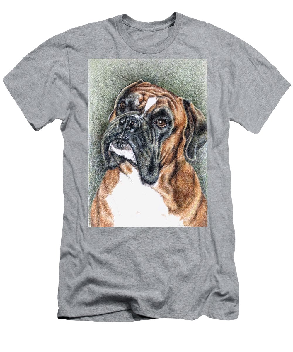 Dog T-Shirt featuring the drawing The Boxer by Nicole Zeug