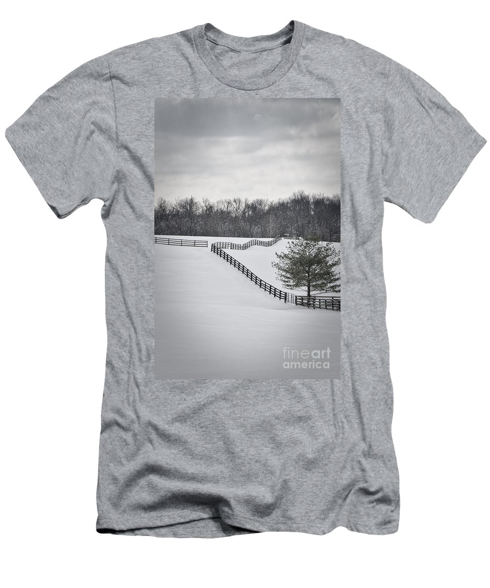 Beautiful Men's T-Shirt (Athletic Fit) featuring the photograph The Color Of Winter - Bw by Mary Carol Story