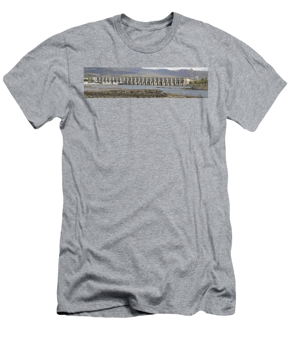 The Dalles Men's T-Shirt (Athletic Fit) featuring the photograph The Dalles Dam Along Columbia River by Jit Lim