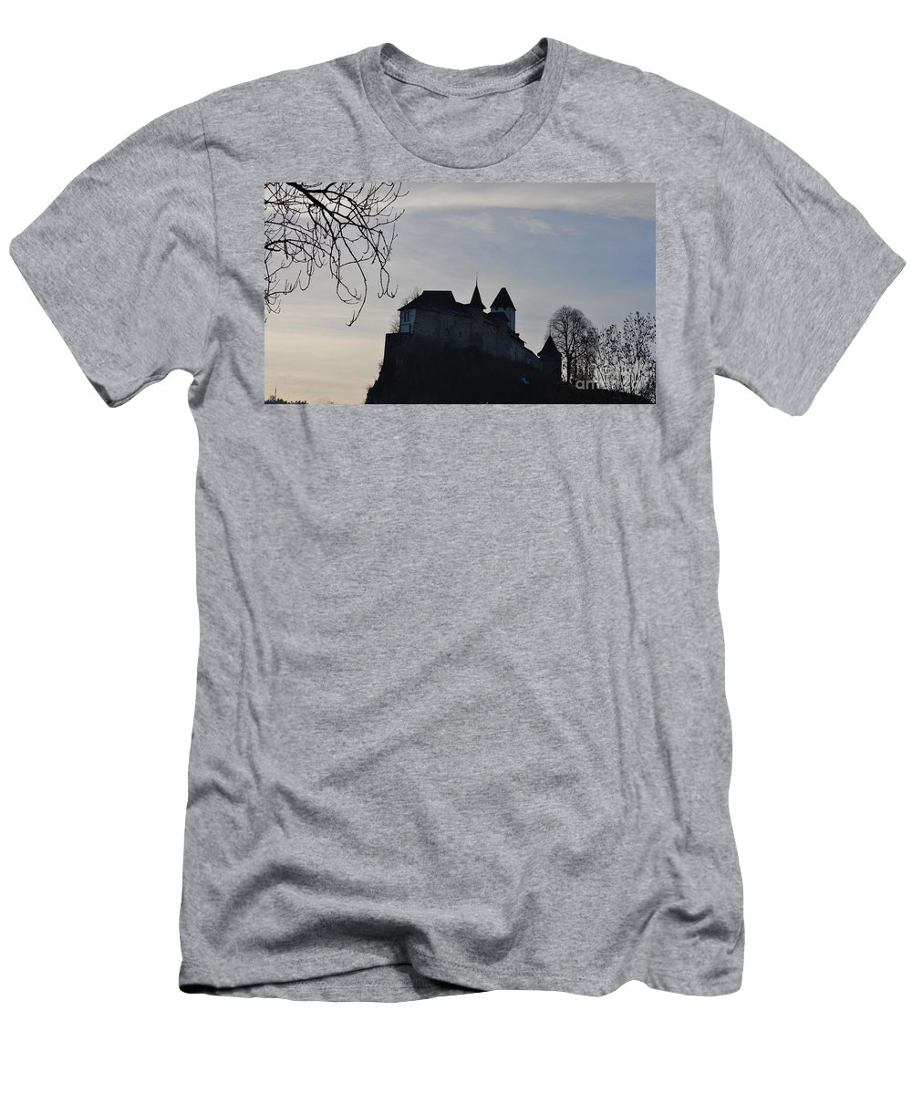 Fortress Men's T-Shirt (Athletic Fit) featuring the photograph The Dark Side Of The Castle by Felicia Tica