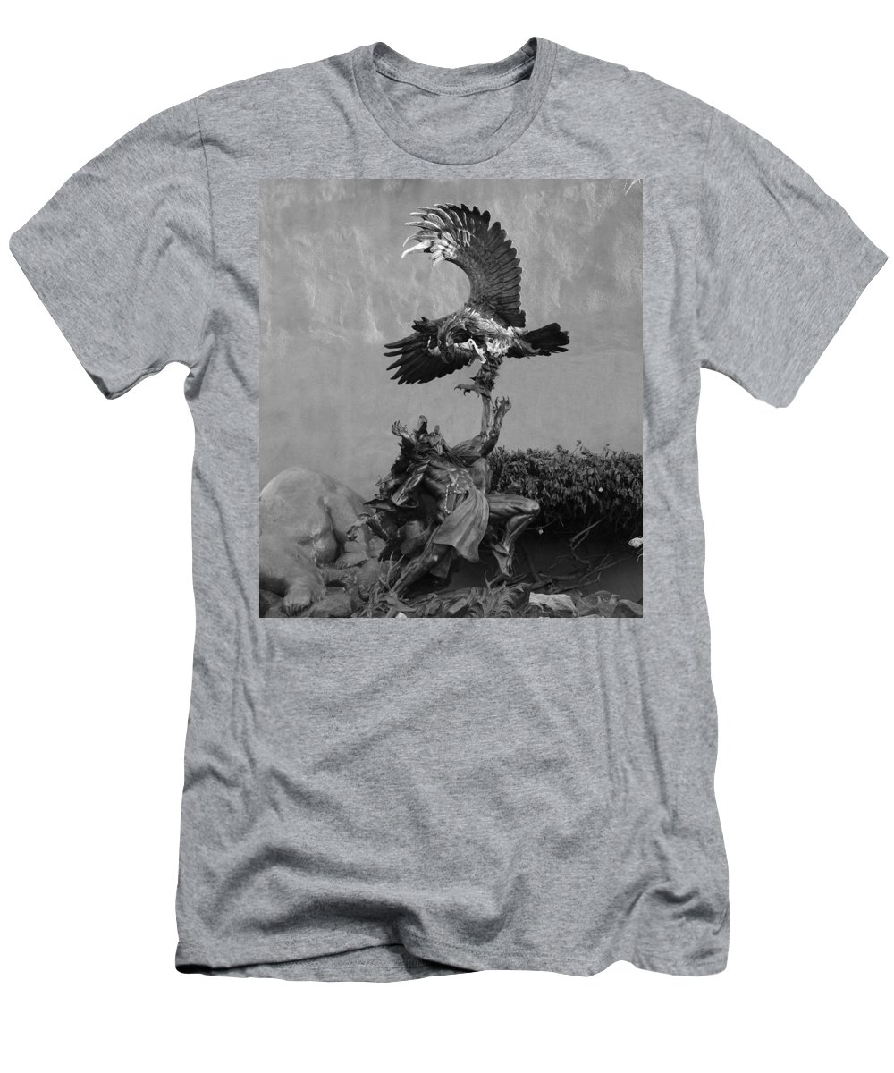Eagle Men's T-Shirt (Athletic Fit) featuring the photograph The Eagle And The Indian In Black And White by Rob Hans