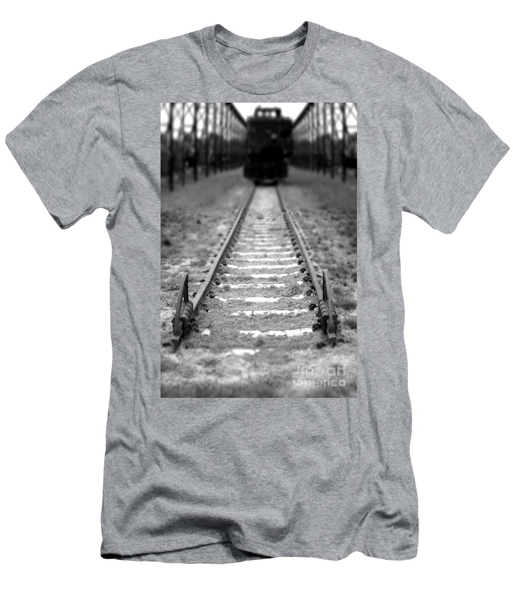 Railroad Men's T-Shirt (Athletic Fit) featuring the photograph The End Of The Line by Olivier Le Queinec