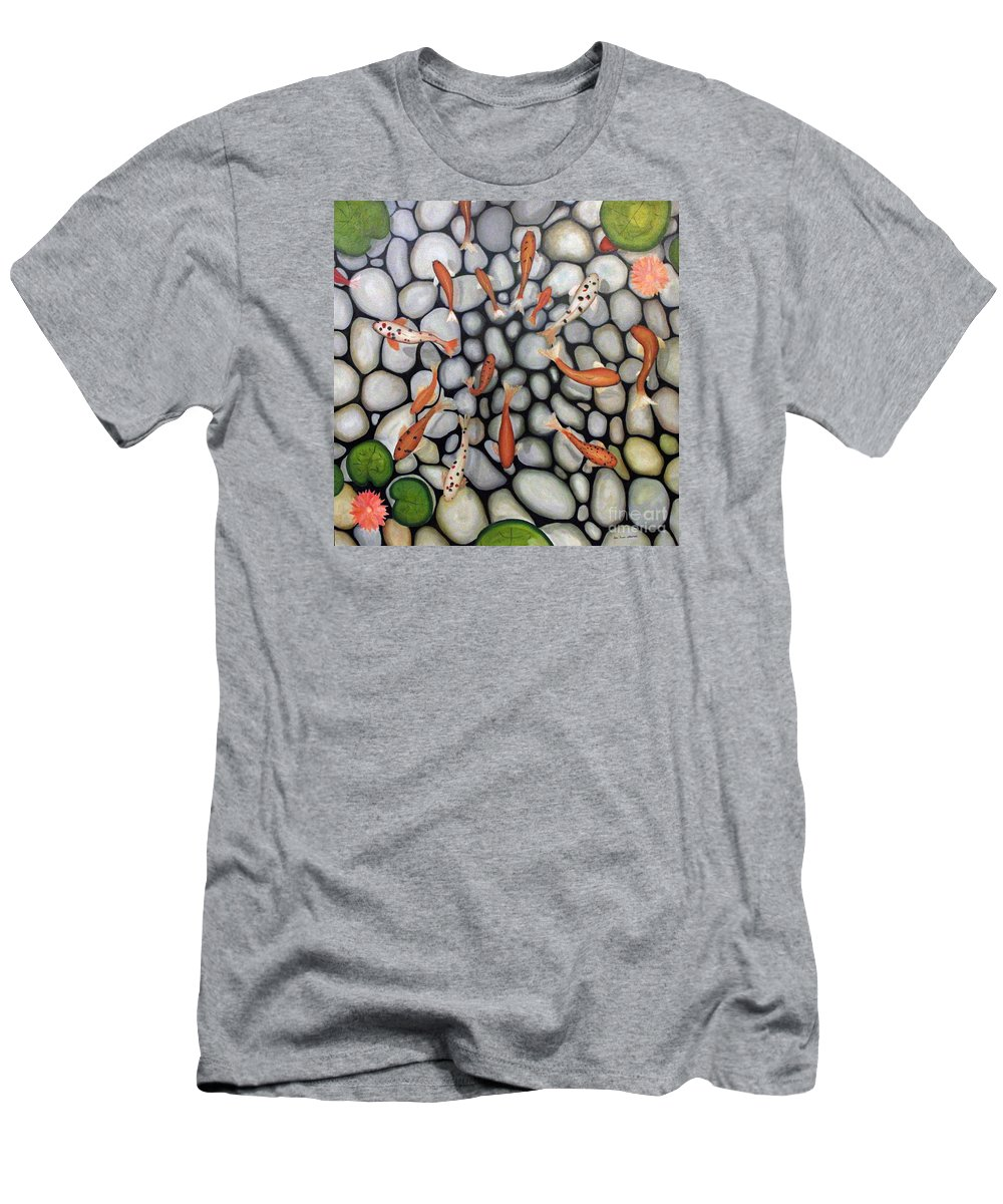 Fish Men's T-Shirt (Athletic Fit) featuring the painting The Fish Pond by John Stuart Webbstock