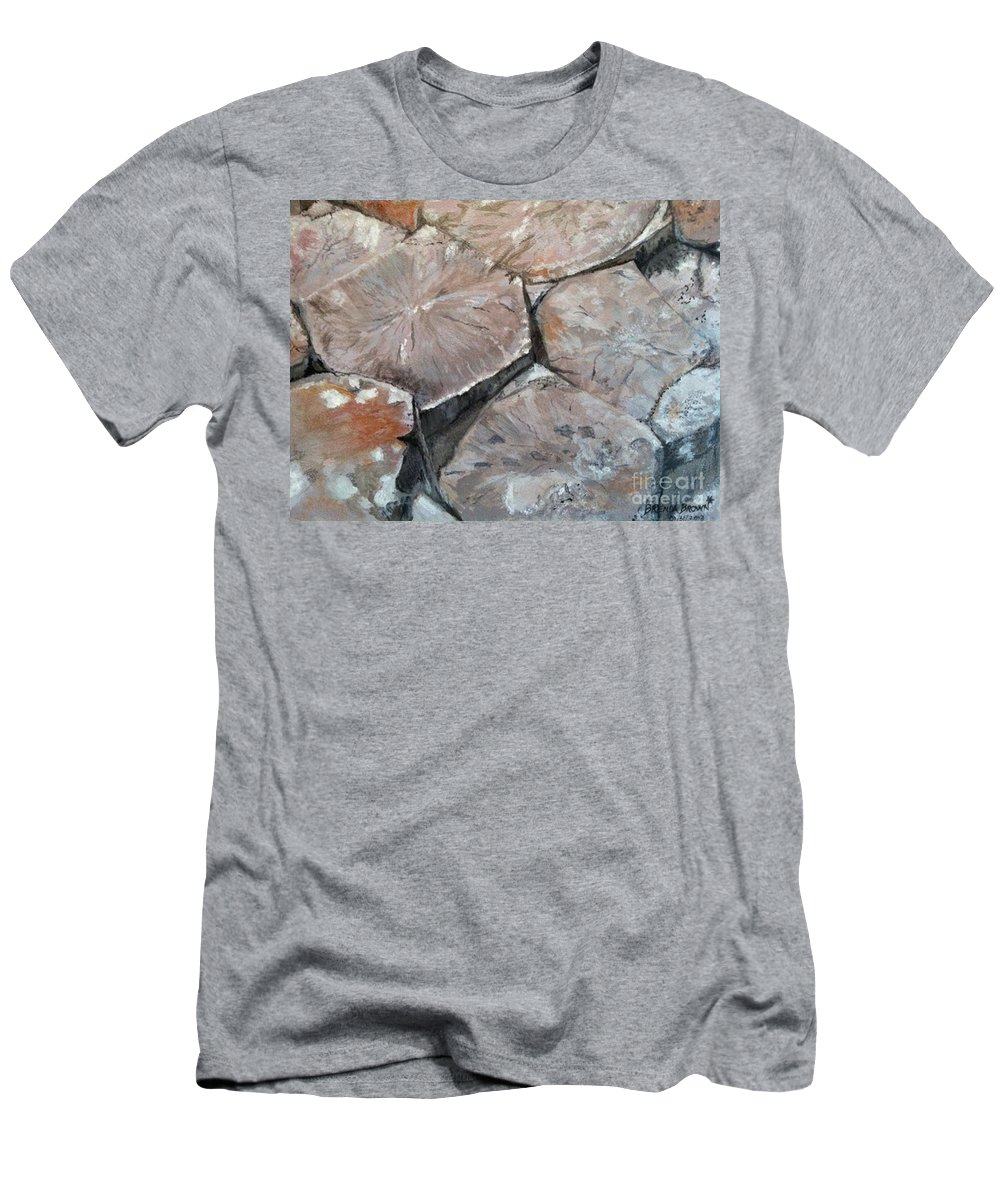 Landscape Men's T-Shirt (Athletic Fit) featuring the painting The Giant's Causeway by Brenda Brown