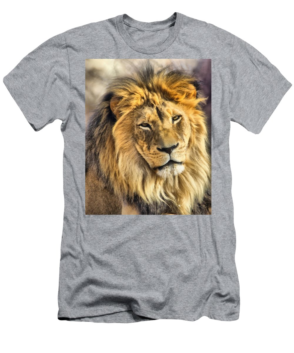 Lion Men's T-Shirt (Athletic Fit) featuring the photograph The Golden King 1 by Angelina Vick