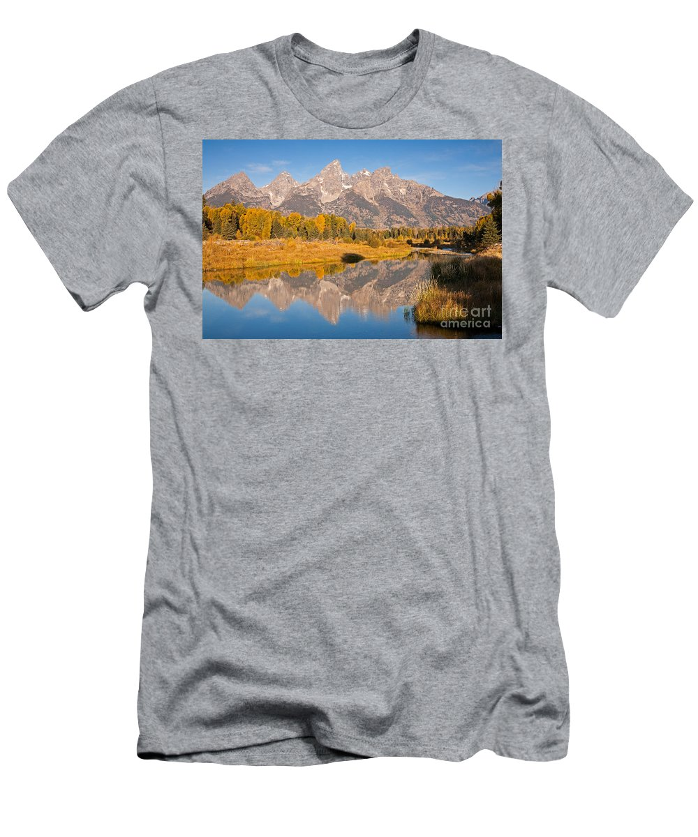 Grand Teton Np Men's T-Shirt (Athletic Fit) featuring the photograph The Grand Tetons At Schwabacher Landing Grand Teton National Park by Fred Stearns