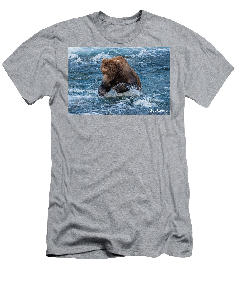 Alaska Men's T-Shirt (Athletic Fit) featuring the photograph The Grizzly Plunge by Joan Wallner