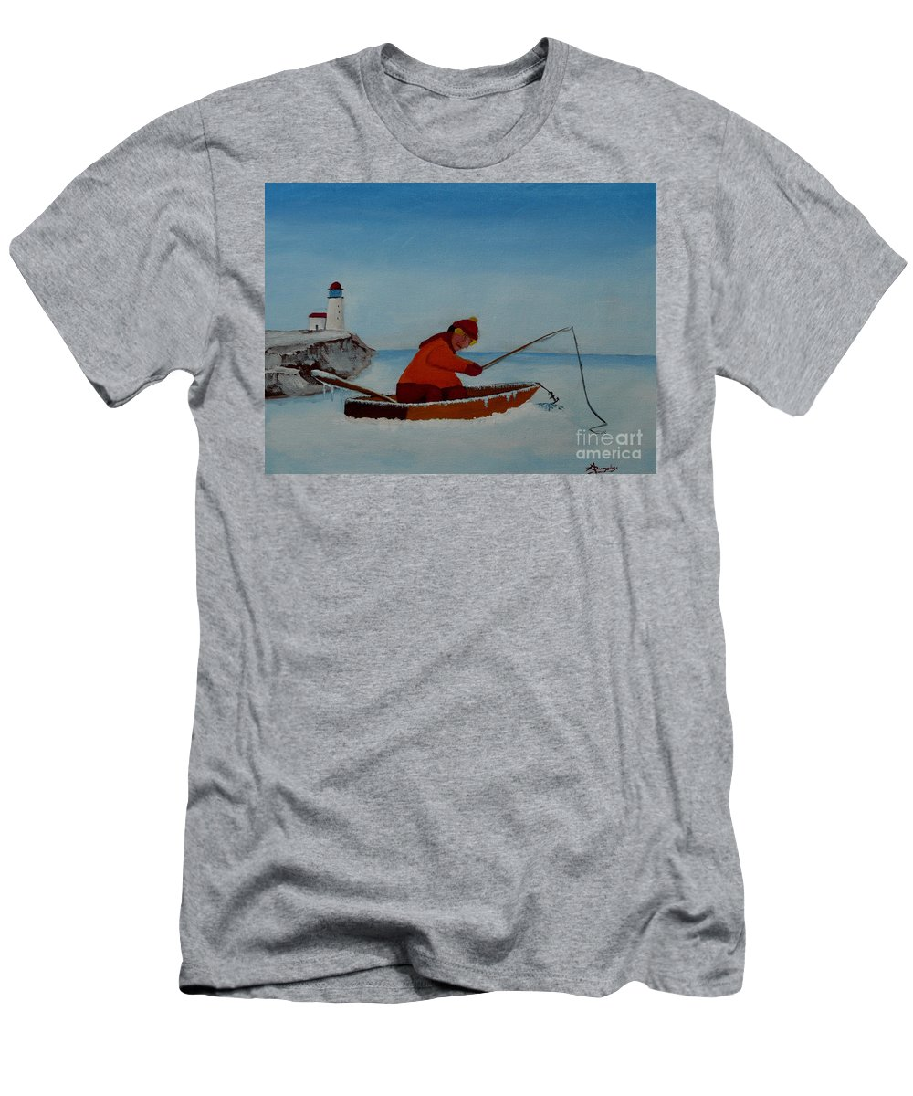 Stupid Men's T-Shirt (Athletic Fit) featuring the painting The Ice Fisherman by Anthony Dunphy