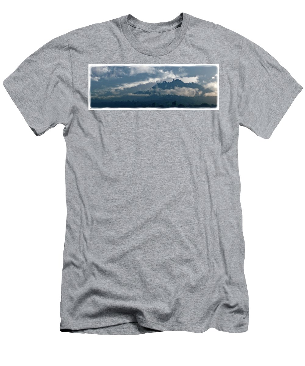 Landscape Men's T-Shirt (Athletic Fit) featuring the digital art The Keep Of Longmary Isle... by Tim Fillingim