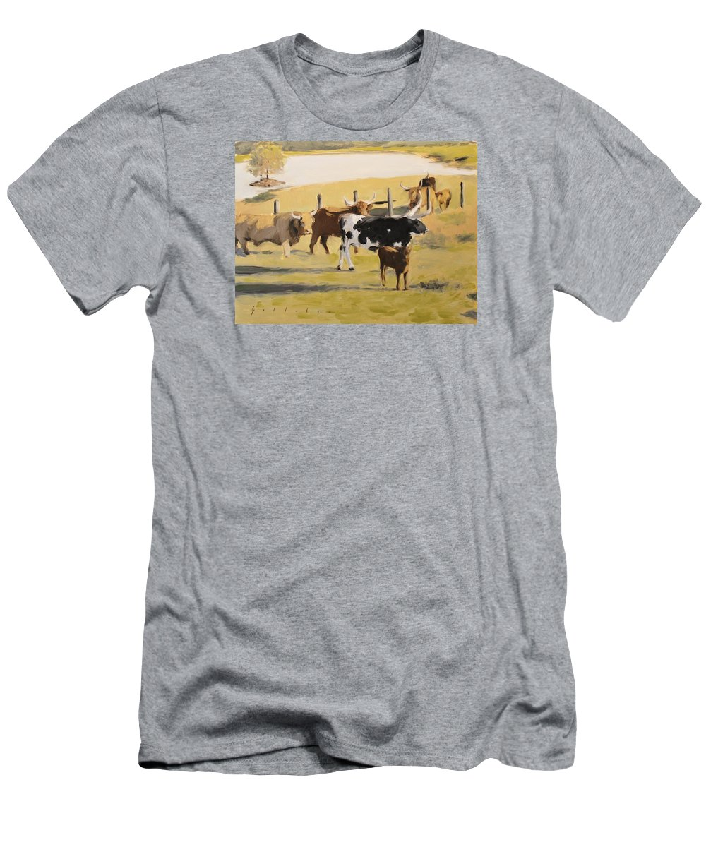 Landscape Men's T-Shirt (Athletic Fit) featuring the painting The Longhorn Cows by Derek Gollaher