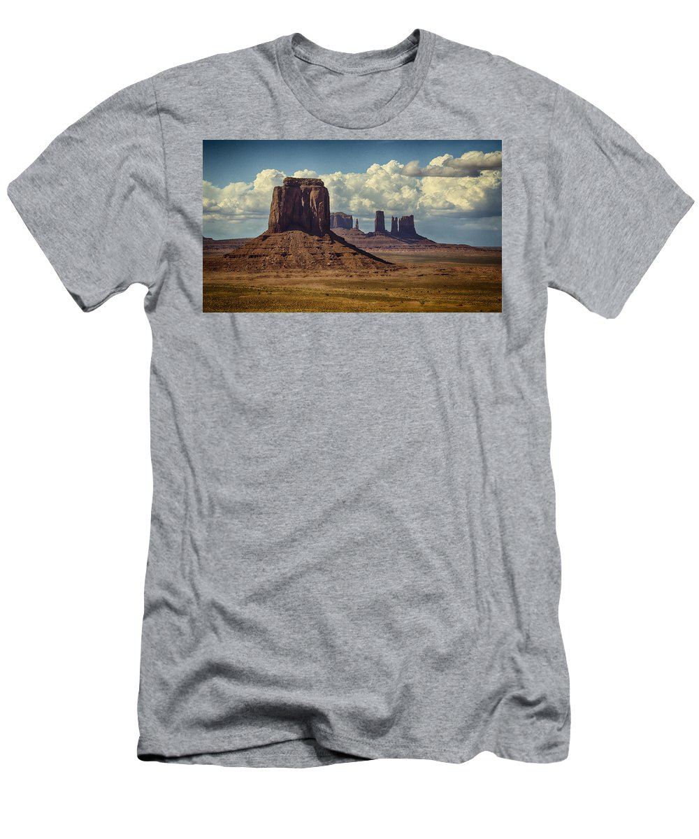 Monument Valley Men's T-Shirt (Athletic Fit) featuring the photograph The Majesty Of Monument Valley by Saija Lehtonen