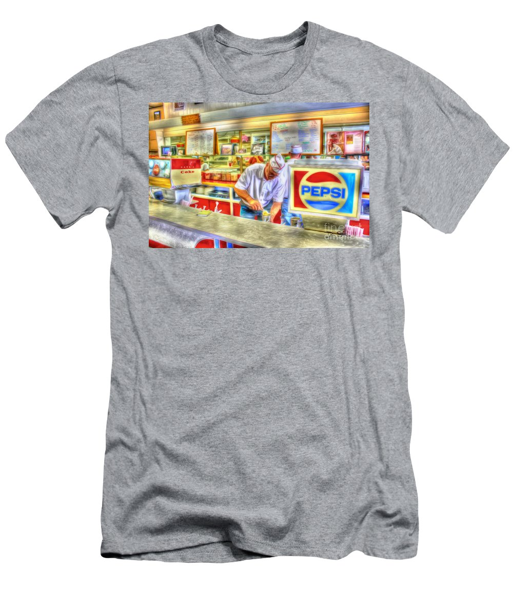 Retro Men's T-Shirt (Athletic Fit) featuring the photograph The Malt Shoppe by Dan Stone