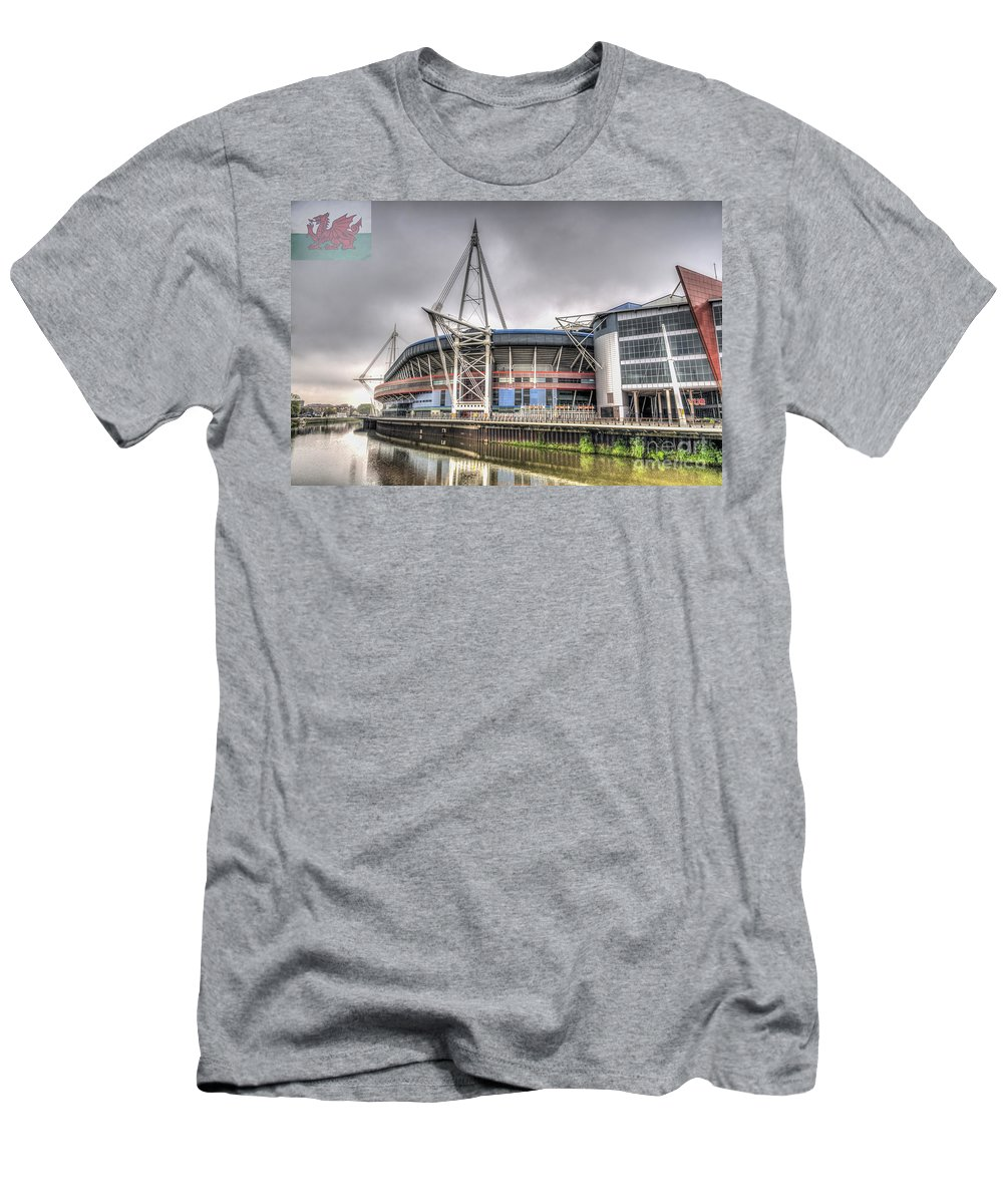 The Millennium Stadium Men's T-Shirt (Athletic Fit) featuring the photograph The Millennium Stadium With Flag by Steve Purnell