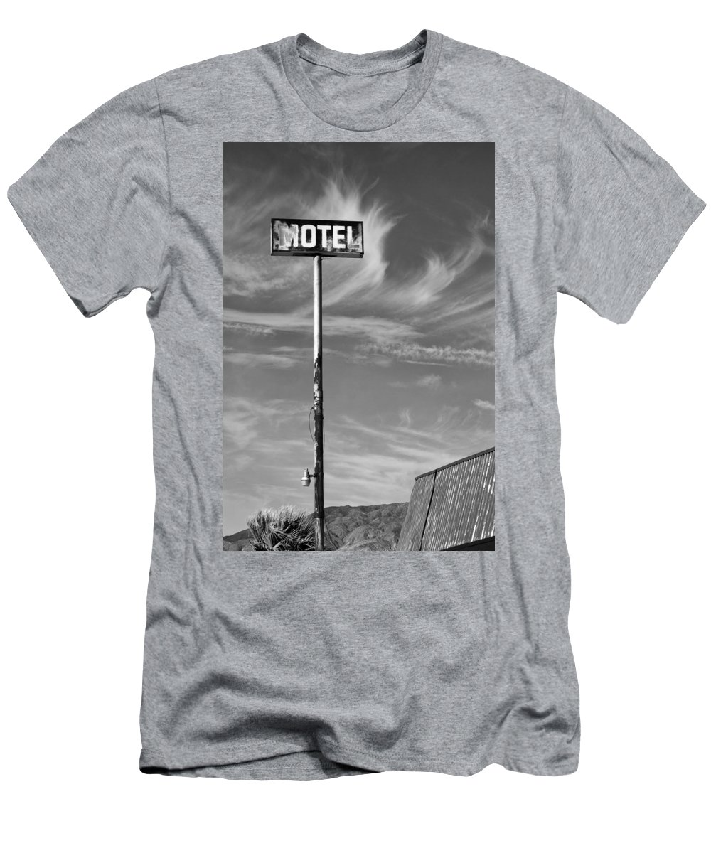 Dhs Men's T-Shirt (Athletic Fit) featuring the photograph The Motel Bw Palm Springs by William Dey
