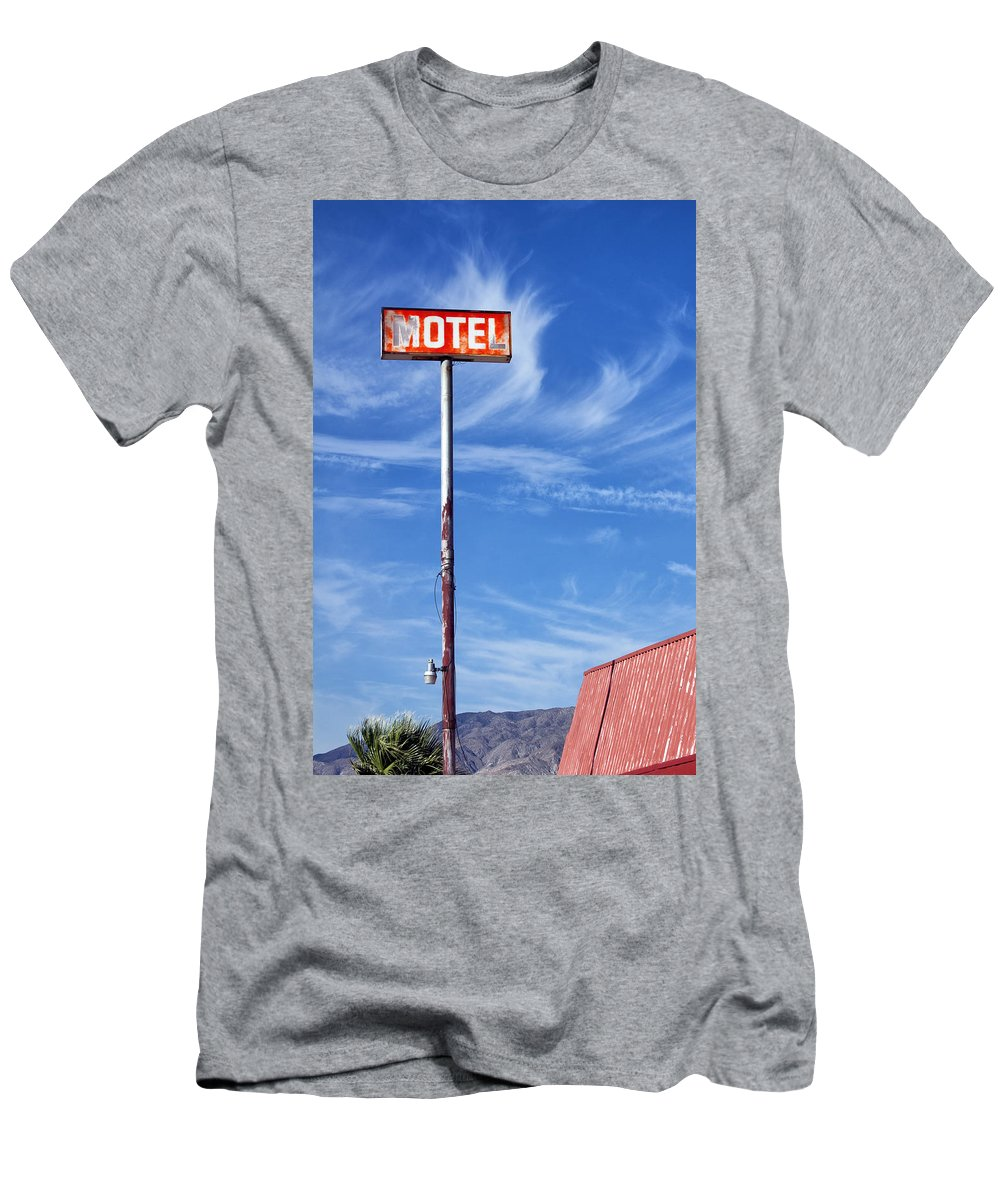 Dhs Men's T-Shirt (Athletic Fit) featuring the photograph The Motel Palm Springs Desert Hot Springs by William Dey