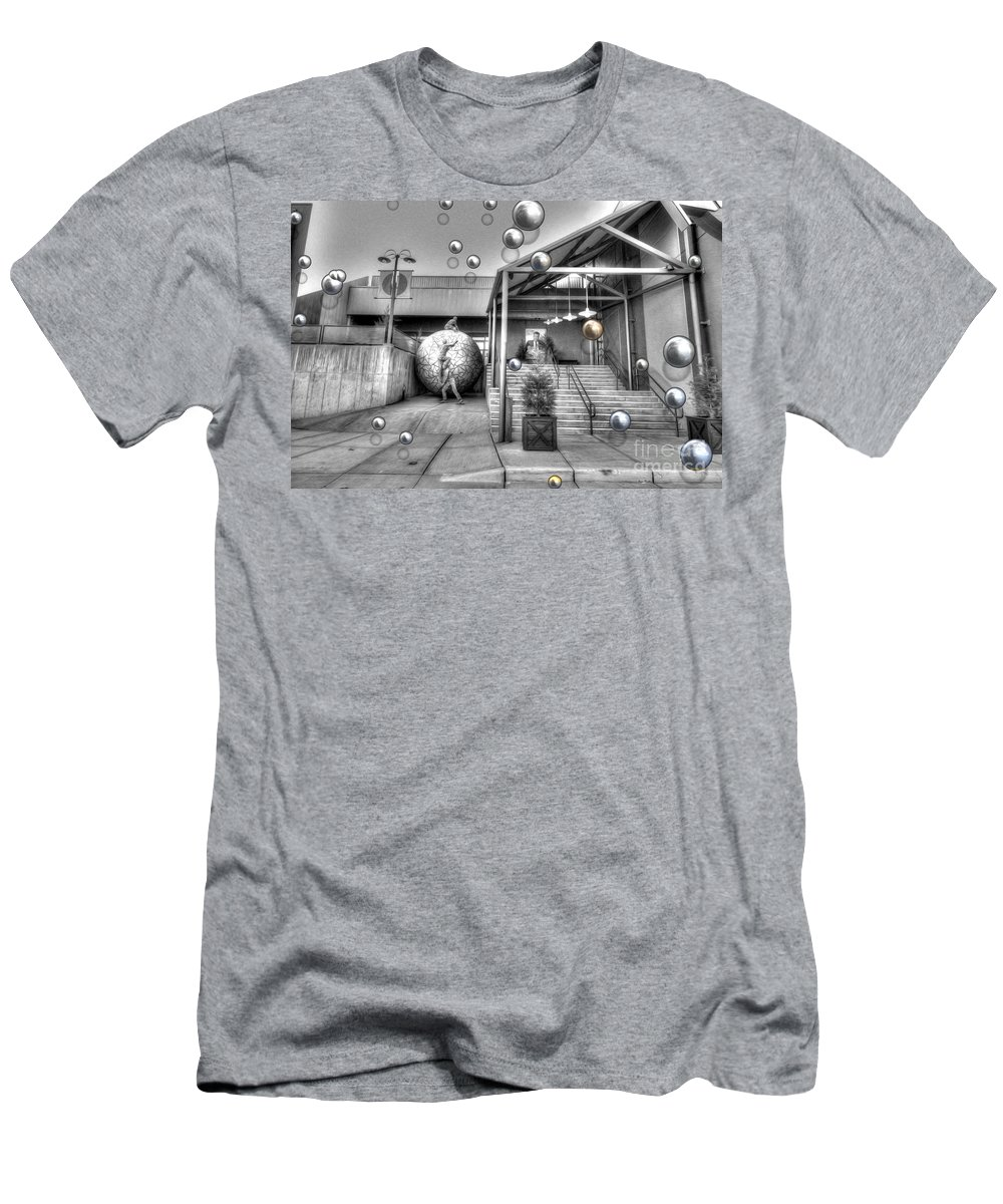The New Theatre Men's T-Shirt (Athletic Fit) featuring the photograph The New Theatre by Liane Wright
