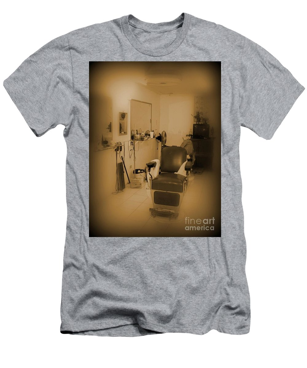 The Old Barbour Shop Men's T-Shirt (Athletic Fit) featuring the photograph The Old Barbour Shop by John Malone
