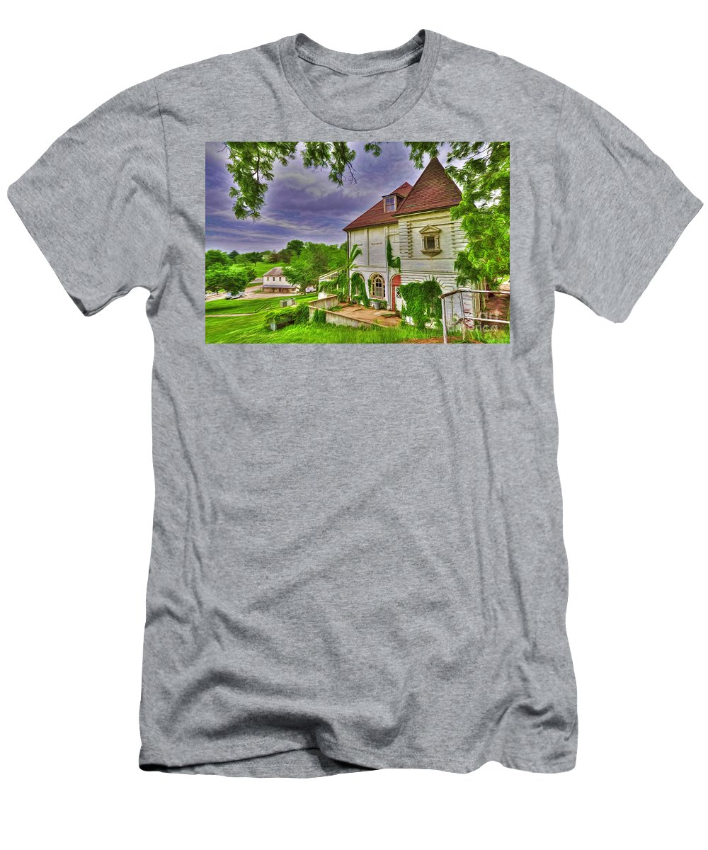 The Old Dugout Men's T-Shirt (Athletic Fit) featuring the photograph The Old Dugout - Leavenworth Va by Liane Wright