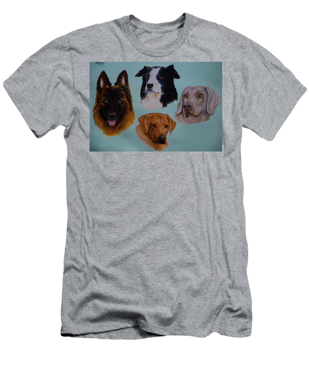 Dogs Men's T-Shirt (Athletic Fit) featuring the painting The Pack by Tracey Beer
