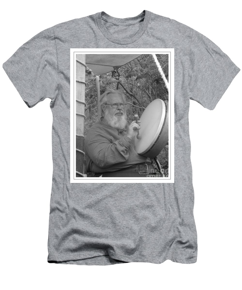 John Bond Men's T-Shirt (Athletic Fit) featuring the photograph The Percussionist And Storyteller by Sara Raber